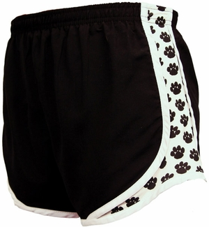 Black & Pawprint Track Shorts