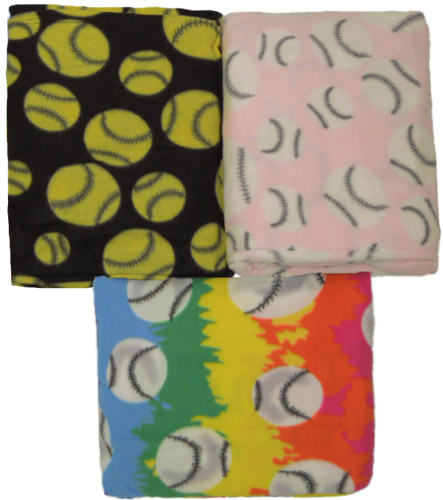 Softball / Baseball Print Fleece Blankets in 3 Colors