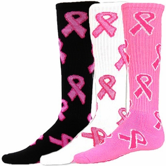 Pink Ribbon Breast Cancer Knee-High Socks - in 3 Colors