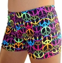 Black w/ Neon Peace Sign Spandex Shorts