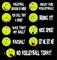 Volleyball Emoticons Short Sleeve Black T-Shirt