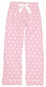 Light Pink Polka Dot Flannel Pants - Choice of 22 Sport Imprints - Leg or Rear