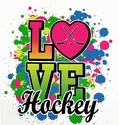 Love Hockey Neon Paint Short Sleeve T-Shirt - in 27 Shirt Colors