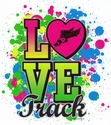 Love Track Neon Paint Short Sleeve T-Shirt - in 27 Shirt Colors
