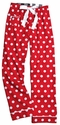 Red Polka Dot Flannel Pants - Choice of 22 Sport Imprints - Leg or Rear