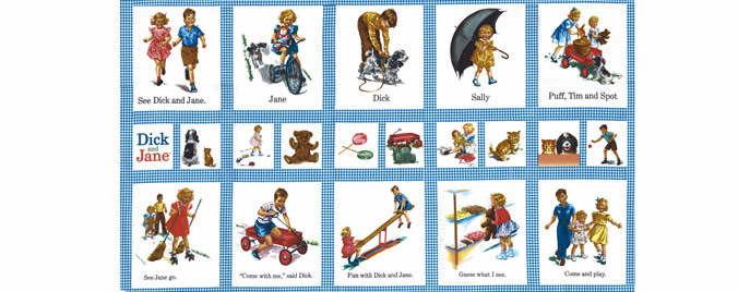 Dick & Jane Fabric Panel- Dick and Jane Panel   **Only ONE available**