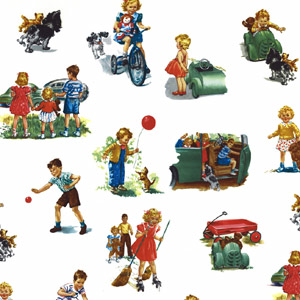 Dick & Jane Fabric - Dick and Jane Allover - White    **Limited Availability**