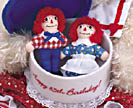 85th Birthday Bear with Cake and Raggedy Ann & Andy Plush  (Raggedy Pins) by Applause Limited Edition