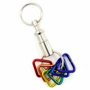 Keychain Snap-Apart with  Anodized Aluminum Rainbow Triangles