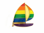 Lapel Pin Rainbow Sailboat