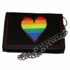 Gay Pride Canvas Tri-Fold Wallet with Rainbow Heart