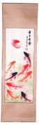 Wall Hanging  Hand-Painted Silk  9 Fish Design