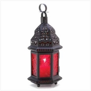 """Red Glass Moroccan Candle Lantern 10-1/4""""h"""