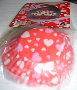 Baking Cups Red Paper with White  Hearts Reg Muffin Size 50/pkg