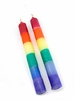 """Rainbow Dipped Taper Candle  7"""" Pair"""