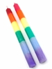 """Rainbow Dipped Taper Candle 10"""" Pair"""