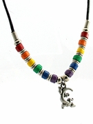 Rainbow Beads on Cord Necklace with Gecko Pendant