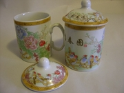 Tea Cup with Lid Birds, Flowers Design  PAIR