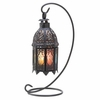 """Rainbow Moroccan Candle Lantern with Stand 13""""h"""