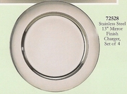 """Charger  Set Mirror Finish Stainless Steel 13""""dia. 4/set"""