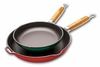 "Chasseur Cast Iron Frying Pan with Wooden Handle Enamel Exterior 10""dia"