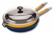 """Chasseur Cast Iron Frying Pan with Glass Lid Enamel Exterior 11"""" dia."""