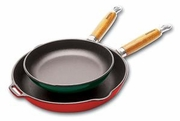 """Chasseur Cast Iron Frying Pan with Wooden Handle Enamel Exterior 10""""dia"""