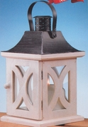 Candle Lantern Antique White Wood