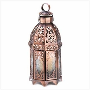 """Copper Moroccan Candle Lamp  9.5""""h"""