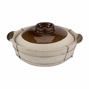 Unglazed Clay Cooking Pot  With Lid  Dual-Handled  4QT