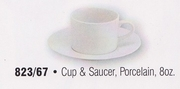 Traditional Rim Porcelain Cup and Saucer 8oz