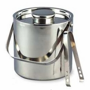 Elegance® Ice Bucket Double Wall Stainless Steel Large with Tongs 3QT