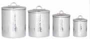 Canister Set Hammered Stainless Steel  4pc