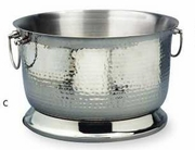 """Party Tub Hammered Stainless Steel Double Wall 16""""dia"""