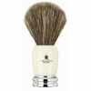 Vie-Long Shaving Brush, Brown Horse Hair Acrylic and Metal, Ivory & Silver.
