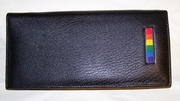 Gay Pride Leather Checkbook Wallet with Zippered Pocket