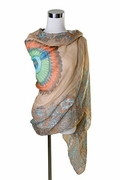 Scarf Polyester, Dyed Feather Design  Taupe