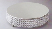 """Cake Plateau 14"""" Round with Crystal  Beading Stainless Steel"""