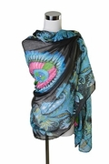 Scarf Polyester, Dyed Feather Design Black