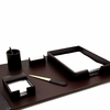 Desk Accessories Set Brown Leather 6pc