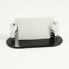 Business Card Holder Black Leather Chrome Plated Brass