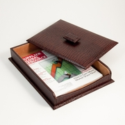 Letter Box with Lid Croco-Grained Leather