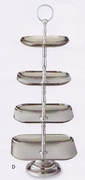 Elegance® Serving Stand 3-Tier Square Hammered Stainless Steel