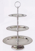Elegance® Serving Trays 3-Tier Beaded Edge Stainless Steel