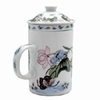 Tea Cup with Lid and Diffuser Butterfly Pattern