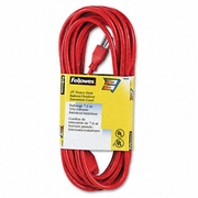Fellowes Indoor Outdoor Heavy-Duty 3-Prong Plug Extension Cord, 1 Outlet, 25-ft., Orange