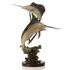 Marlin and Sailfish Sculpture on Marble Base  FREE SHIPPING