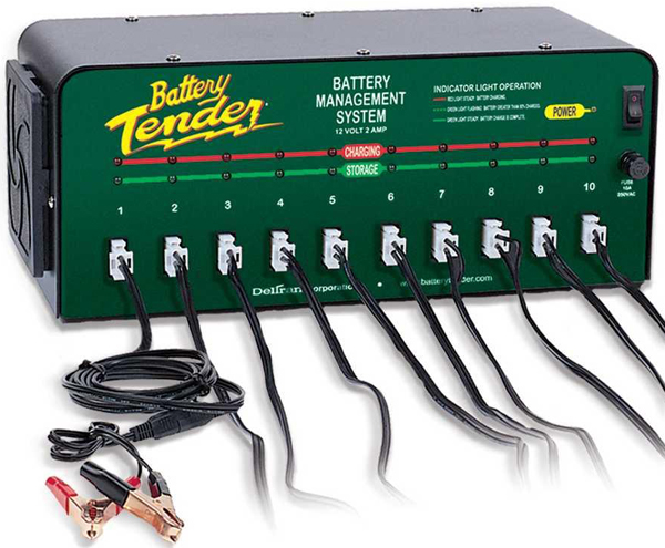 12 Volt Battery Tender 10-Bank Multiple Battery Charger 2 Amps