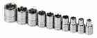 "SK Tool 10 Piece 1/4"" Drive 6 Point Standard Fractional Socket Set"