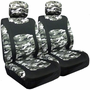 Snow Camouflage Low Back Bucket Airbag Seat Cover (Pair)
